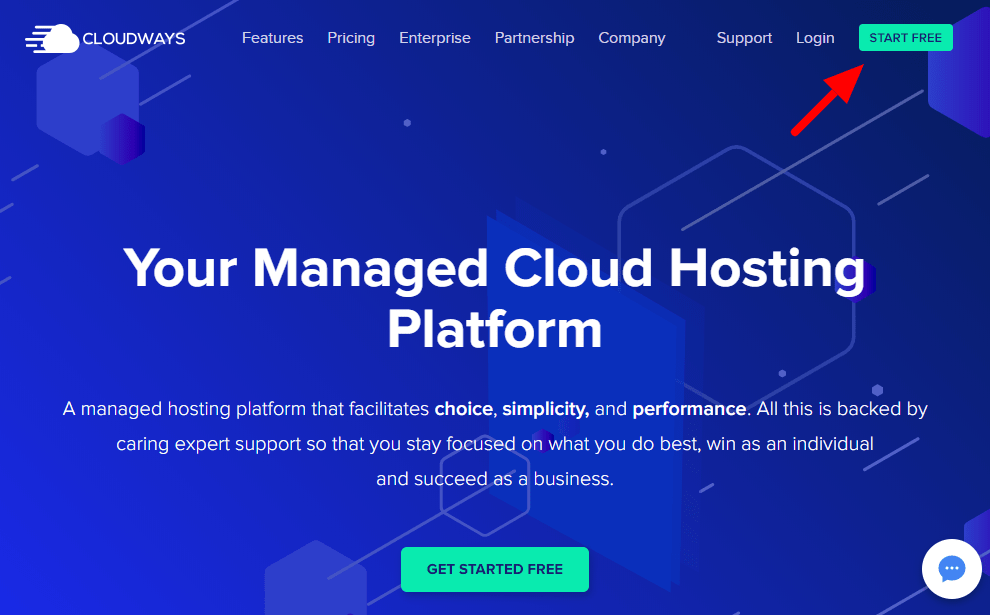 Cloudways Free Trial - Start Free Button